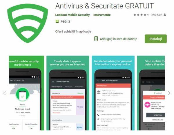 Lookout Antivirus gratis telefon tabletă Android