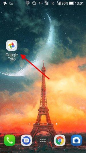 Pictograma Google Photos pe ecranul telefonului