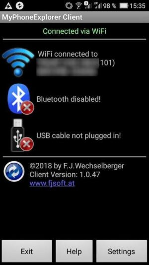 Poză cu aplicația MyPhoneExplorer pe telefon Android.