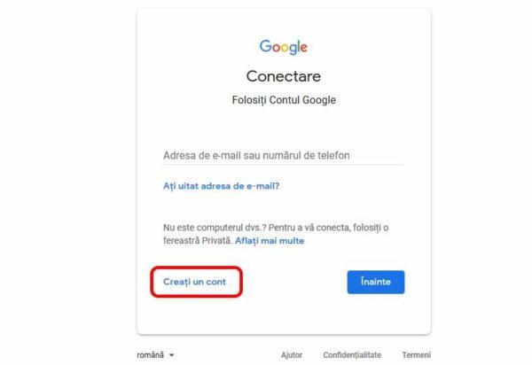 creați un cont google nou