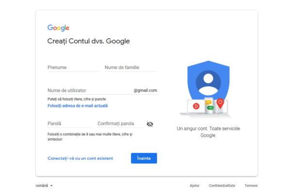 cum se face un cont google nou