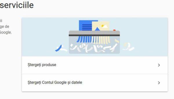 cum se șterge un cont google