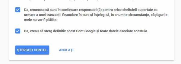 cum ștergi contul google