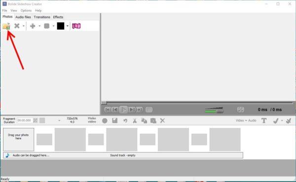 Program de făcut video cu poze și muzică Free Bolide Slideshow Creator