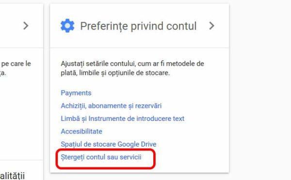 ștergere cont google