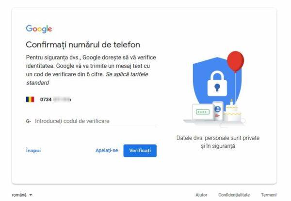 verificare numar telefon google